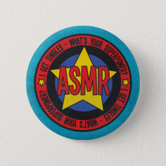 ASMR What's Your Superpower Distressed Logo Pinback Button