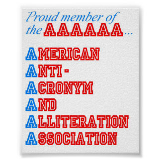 Asociación americana de las Anti-Siglas y de la al Póster