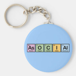 Basic Button Keychain with Asocial design