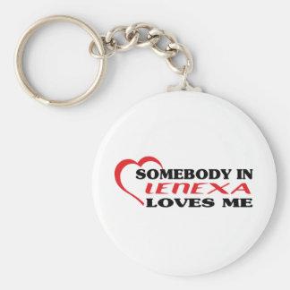 aSomebody in Lenexa loves me t shirt Basic Round Button Keychain