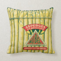 Asparagus Asperges En Branches Vintage Label Art Throw Pillow