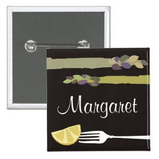 Asparagus fork lemon culinary name tag badge pinback button