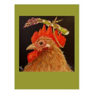 asparagus hat on rooster postcard