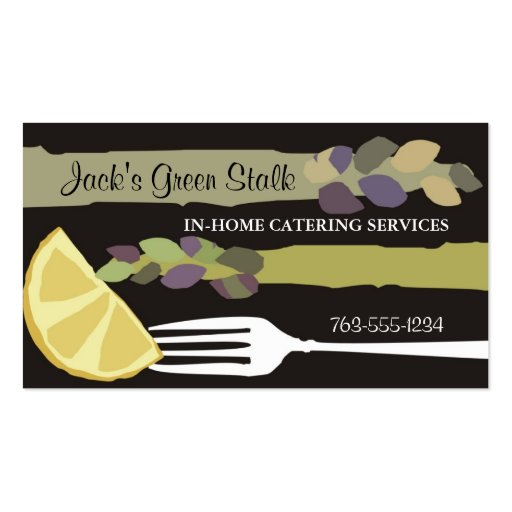 Asparagus lemon fork chef catering business cards zazzle for Catering business card template