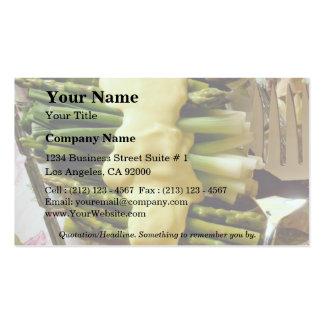 Asparagus with sauce business card templates