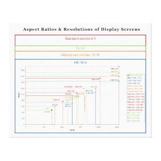 Aspect Ratios & Resolutions of Display Screens Canvas Print