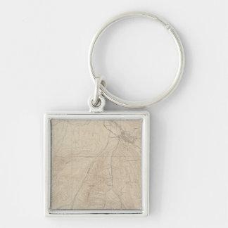 Aspen Atlas Sheet Silver-Colored Square Keychain