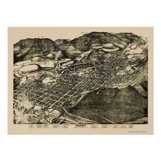 Aspen, CO Panoramic Map - 1893 Poster