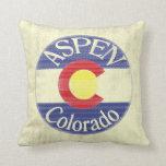 Aspen Colorado circle flag decorative pillow
