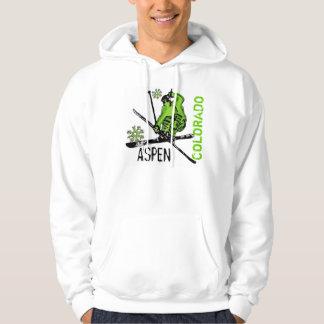 Aspen Colorado green skier guys hoodie