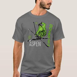 Aspen Colorado green skier guys tee