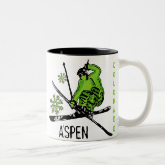 Aspen Colorado green theme skier coffee mug