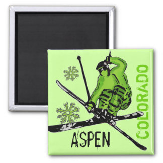 Aspen Colorado green theme skier magnet