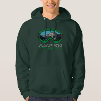 Aspen Colorado guys green snow goggle hoodie