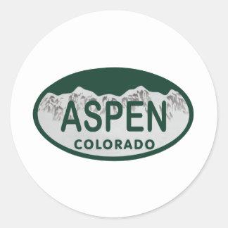 Aspen Colorado license plate Classic Round Sticker