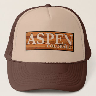 Aspen Colorado wooden log sign Trucker Hat