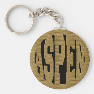 ASPEN - GOLD BASIC ROUND BUTTON KEYCHAIN