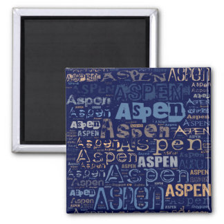 Aspen Grunge Text Collage 2 Inch Square Magnet