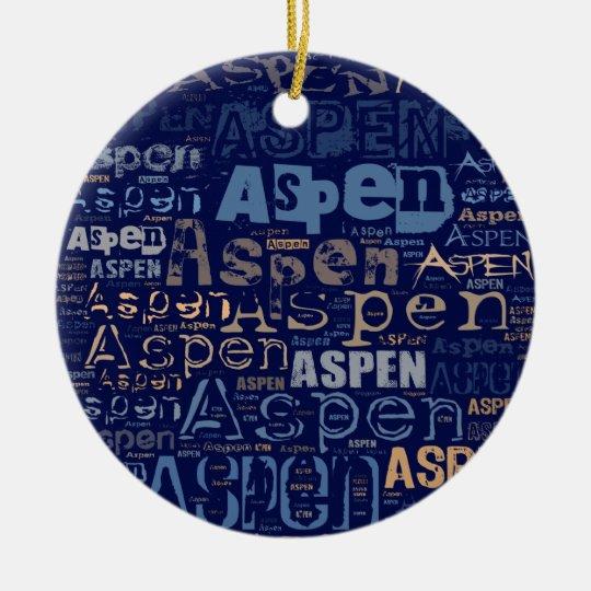 Aspen Grunge Text Collage Ceramic Ornament