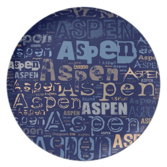Aspen Grunge Text Collage Dinner Plate