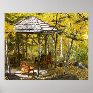 """""""Aspen Hideaway"""" Gazebo, Autumn Poster"""