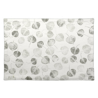 Aspen Leaf Black and White Pattern Cloth Placemat