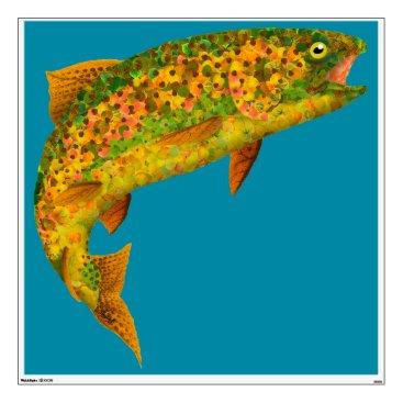 Art Themed Aspen Leaf Rainbow Trout 2 Wall Sticker