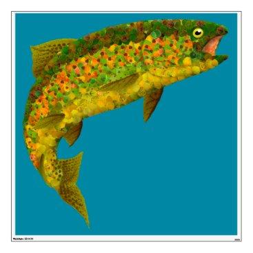 Art Themed Aspen Leaf Rainbow Trout 3 Wall Sticker