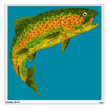 Art Themed Aspen Leaf Rainbow Trout 4 Wall Sticker