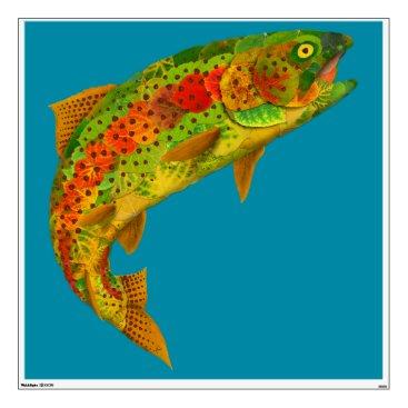 Art Themed Aspen Leaf Rainbow Trout 5 Wall Sticker