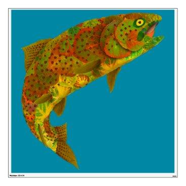Art Themed Aspen Leaf Rainbow Trout 6 Wall Sticker