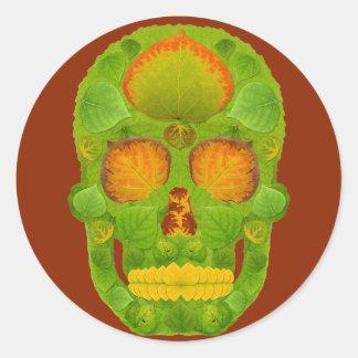 Aspen Leaf Skull 10 Classic Round Sticker