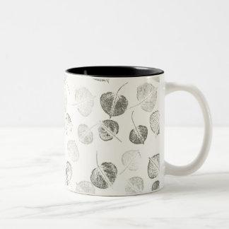 Aspen Leaves Black and White Coffee Mugs