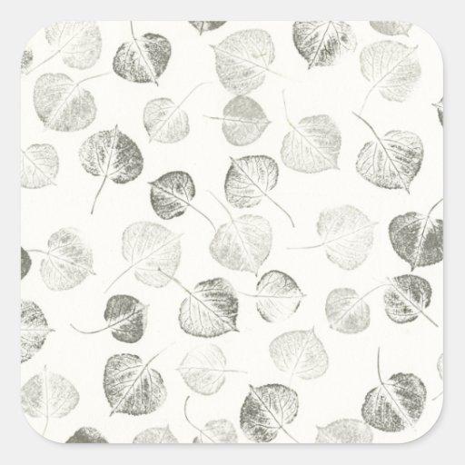 Aspen Leaves Black and White Pattern Square Sticker