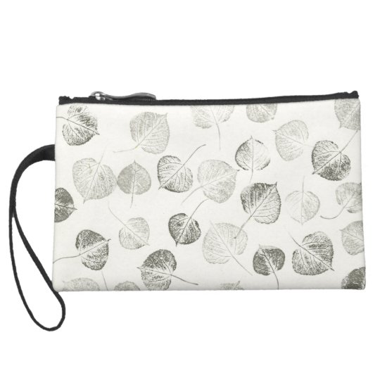 Aspen Leaves Black and White Pattern Suede Wristlet