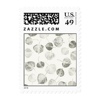 Aspen Leaves Black and White Postage Stamp