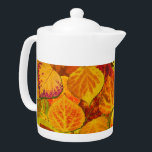 """Aspen Leaves Collage Solid Medley 1 Teapot<br><div class=""""desc"""">A collage of my aspen leaf paintings,  glowing in vivid fall colors!</div>"""