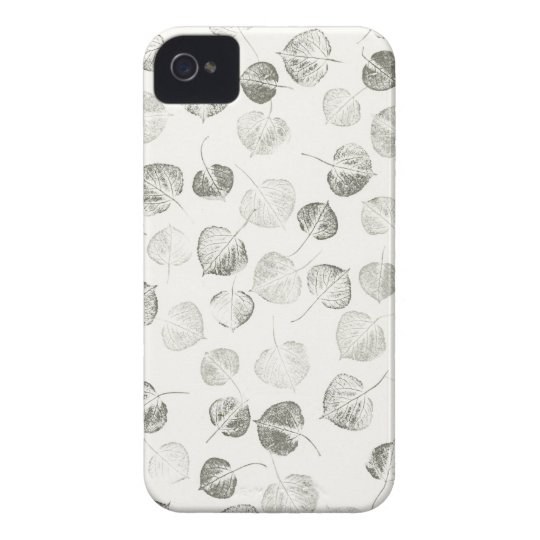Aspen Leaves Pattern Black and White iPhone 4 Cover