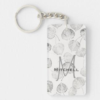 Aspen Leaves Pattern Monogram Rectangular Acrylic Key Chains