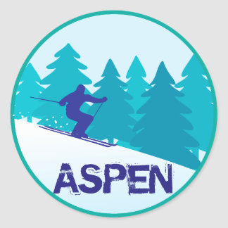 Aspen Ski Circle Classic Round Sticker
