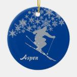 Aspen Snowflake Skier Personalized Ceramic Ornament