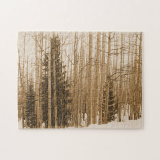 Aspen Tree Forest in Winter Puzzle
