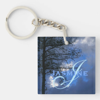 Aspen Tree in the Clouds Double-Sided Square Acrylic Keychain