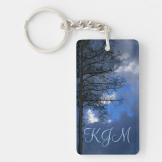 Aspen Tree in the Clouds Monogram Double-Sided Rectangular Acrylic Keychain