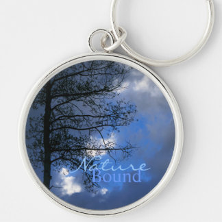 Aspen Tree in the Clouds Silver-Colored Round Keychain