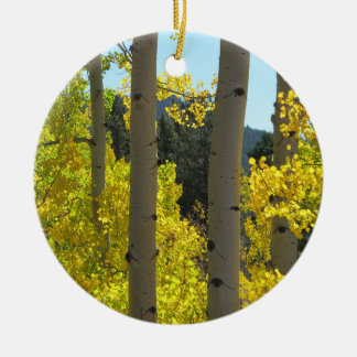 Aspen Tree Trunks in Golden Grove Ceramic Ornament