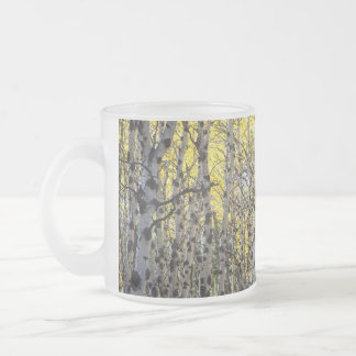 Aspen Trees and Golden Autumn Leaves Frosted Glass Coffee Mug