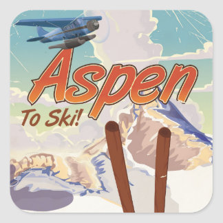 Aspen USA Vintage ski travel poster Square Sticker