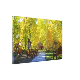 """Aspen Walkway"", Autumn, Wrapped Canvas Canvas Print"