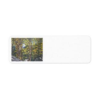 Aspens in Estes Oil Landscape Painting Return Address Labels
